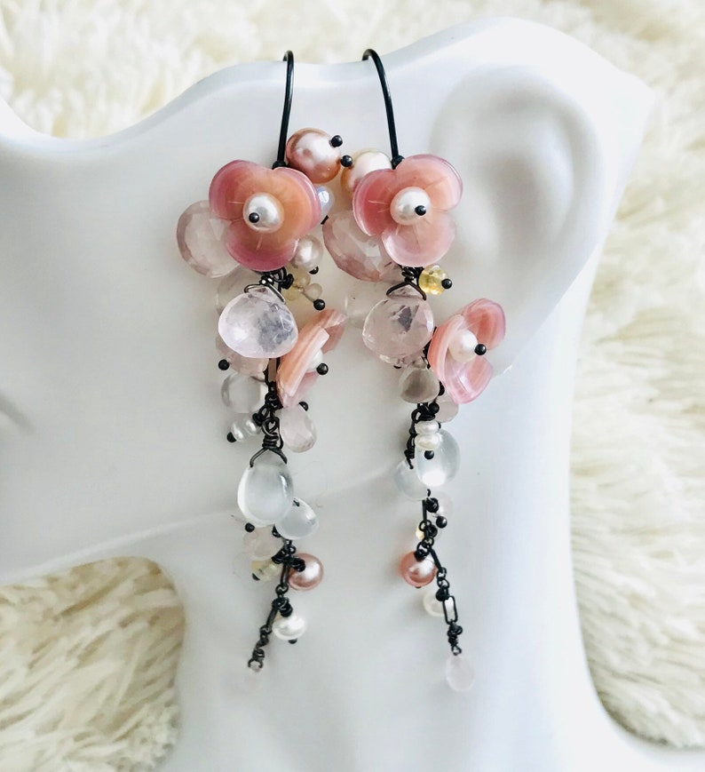 rose quartz Cherry blossom long vine chandelier earring in OX sterling silver Mother of pearl culture pearl opal.