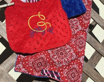 Giddy Up Appliqued Bib and Bandana Styled Burp Cloth Set in Minky