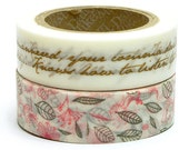 Decollections Masking Tape - Calligraphy, Leaves & Flowers - Set 2 - Runa