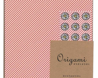 25% off sale - Japanese Origami Paper 15cm (6 inches) - Coral Pink & White Stripes