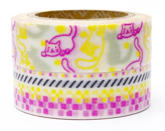 Decollections Masking Tape - Cat Mosaic - Set 2 - Afternoon