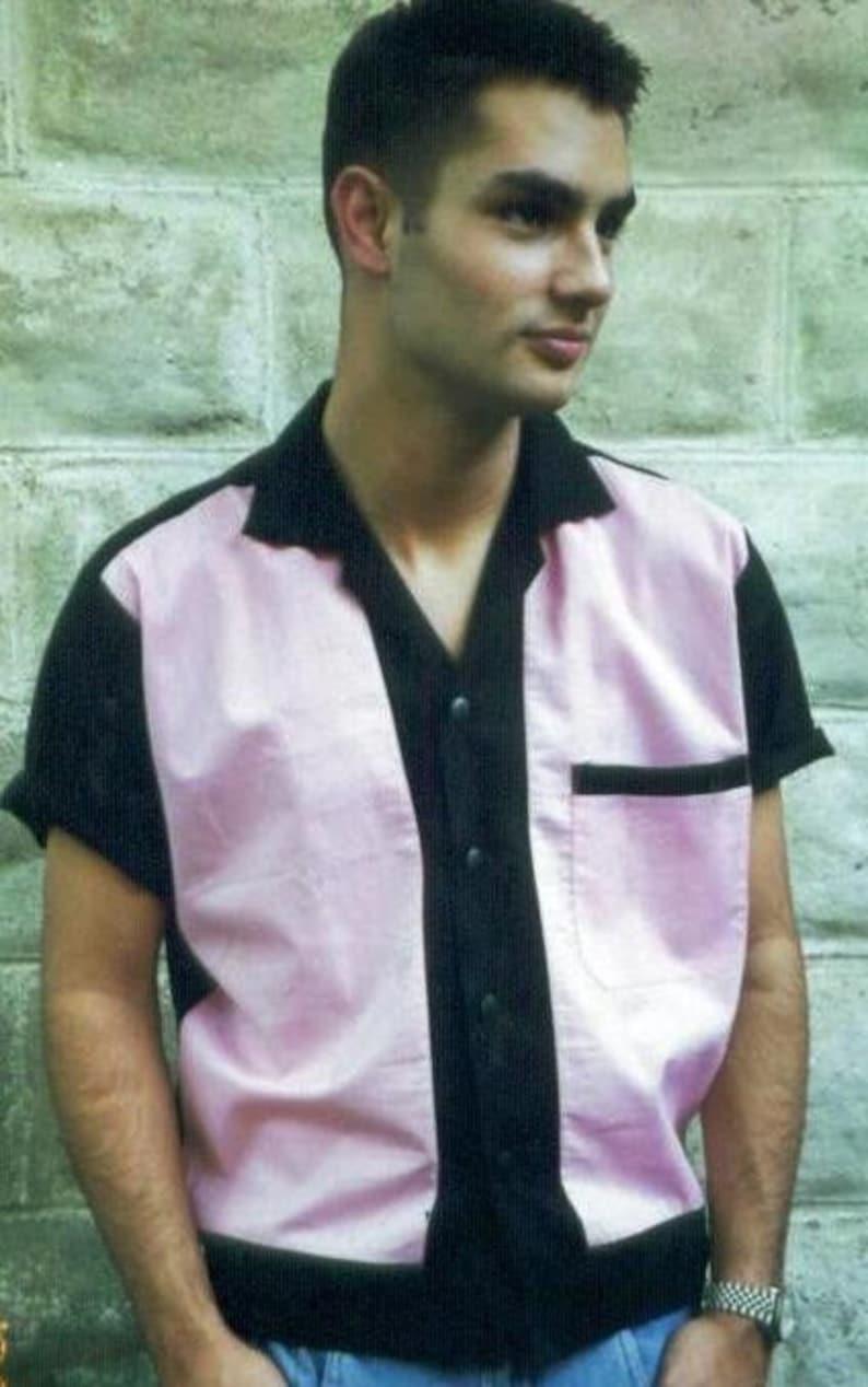 Men's Vintage Clothing | Retro Clothing for Men Mens Rockabilly Shirt Jac Pink & Black $45.00 AT vintagedancer.com