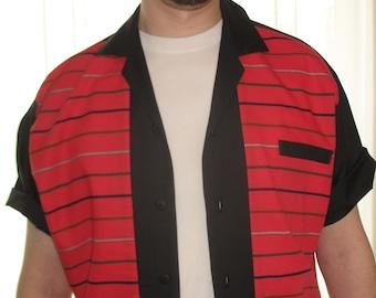 Rockabilly Shirt Jac Vintage Red Stripe Fabric