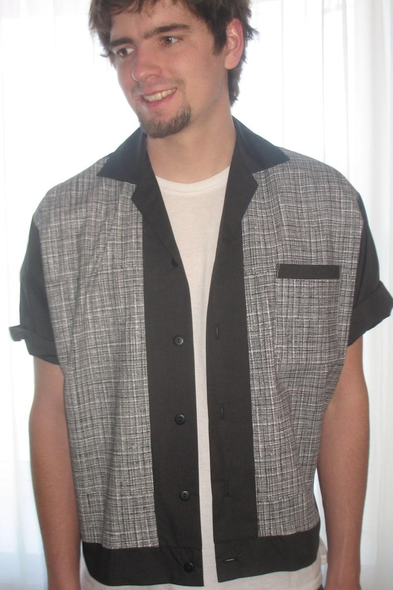 Men's Vintage Clothing | Retro Clothing for Men Mens Rockabilly Shirt Jac Black & White Lines $45.00 AT vintagedancer.com