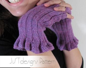 Ruffle and Ribs Knitting Pattern, fingerless glove pattern, fingerless mitt knitting pattern, ruffle wrist knit, feminine glove pattern