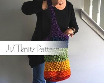 Market Tote Knit Pattern, Upcycle T-shirt Yarn tutorial, recycle t shirt, t shirt yarn, pdf pattern, cotton yarn, market tote t-shirt