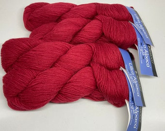 DeSTASH yarn, Berroco Ultra Alpaca Light, DK yarn, red yarn, Cardinal red knitting yarn, wool alpaca blend