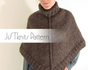 Poncho Pattern, heavy worsted weight poncho pattern, retro poncho, knitting pattern pdf, knit a boho poncho, knit winter poncho pattern