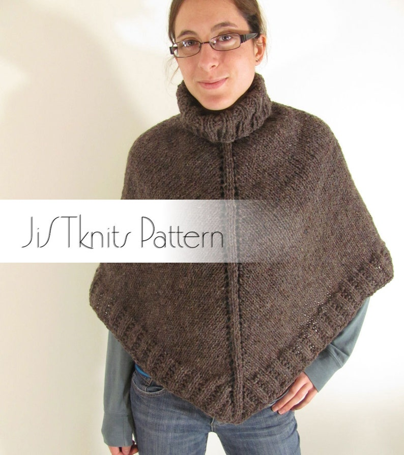 Poncho Pattern heavy worsted weight poncho pattern retro image 0