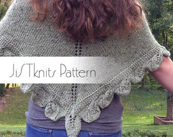 Turning Leaves Poncho Shawl Knitting Pattern, Knit Shawl Pattern, Knit Poncho pattern, knit leaves, scalloped leaf shawl, multi-directional