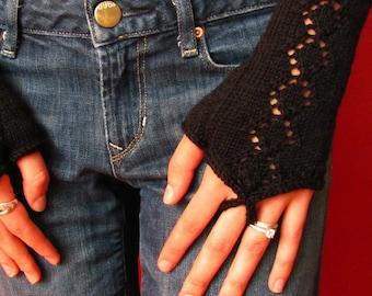 Black Diamond fingerless gloves, Gauntlet mitts, texting gloves, black knit gloves, texting mitts, hand warmers, stocking stuffer, hand knit