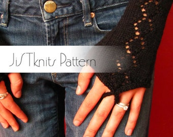 Black Diamond Gauntlet, Fingerless Glove Mitt Knitting Pattern, knitting pattern, pdf pattern, sock yarn pattern, texting gloves, mitt