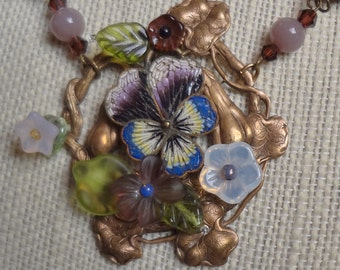Vintage Micro Mosaic Pansy Necklace--Rare and Gorgeous