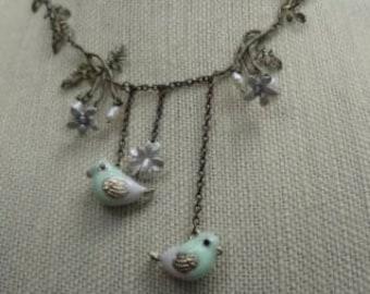 SALE--Vintage Lovebirds and Flowers Necklace