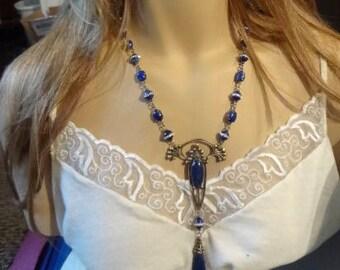 Vintage Art Nouveau Lapis Lazuli Necklace