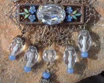 Vintage Crystal and Enamel Necklace--Blues