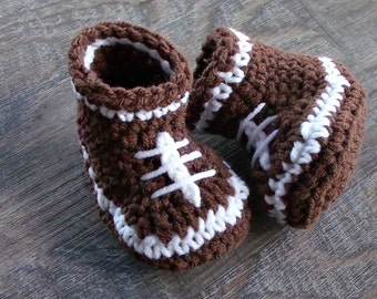 Football Baby Booties, Crochet Football Shoes, Baby Boy Shoes, Football Baby Shower, Crochet Baby Boy Booties