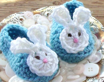 Easter Bunny Baby Boy Shoes, Crochet Booties, Aqua Blue Bunny Ear Slippers, New Baby Shower Gift or Newborn Photo Prop