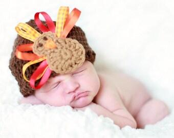Baby Turkey Hat, Crochet Turkey Hat, Ribbon Turkey Hat, Boy or Girl Thanksgiving Baby Hat, Beanie Cap, Ready to Ship Cute Fall Photo Prop