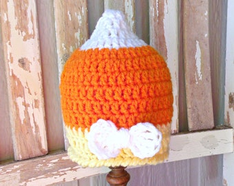 Crochet Candy Corn Baby Hat, Baby Hat with Bow, Halloween Costume for Baby Girl, Fall Photo Prop, READY TO SHIP Crochet Baby Girl Hat