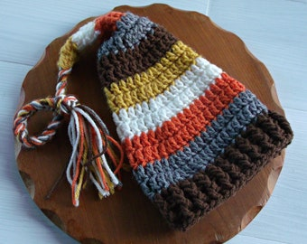 Fall or Thanksgiving Baby Boy Hat, Crochet Baby Elf Hat, Newborn Photo Prop, Shower Gift, Warm and Ready to Ship