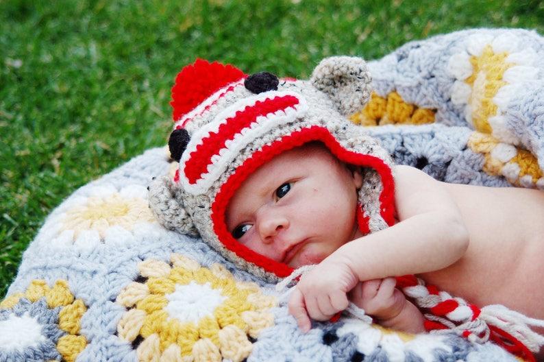e8210b51ca2 Crochet Sock Monkey Hat Baby Monkey Newborn Animal Hat Warm