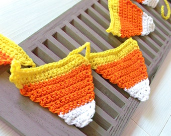 Crochet Candy Corn Garland, Fall Home Decor, Harvest, Autumn, Halloween Decorations, Crocheted Banner, Ready to Ship Bunting Garland