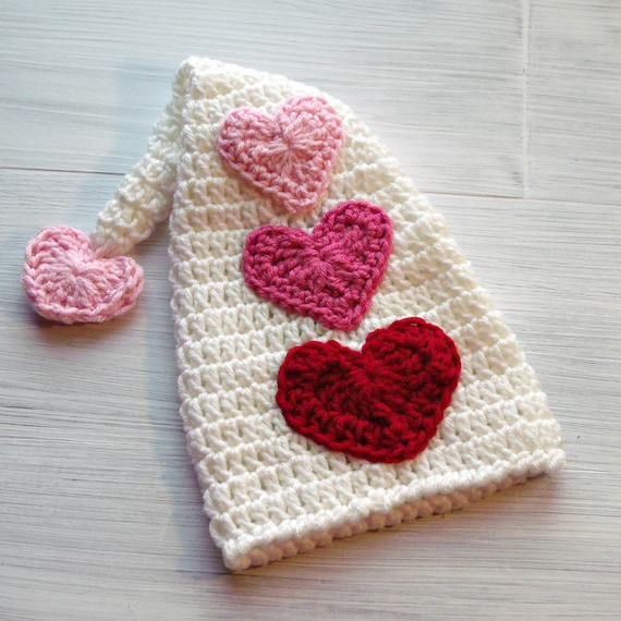 Valentine Baby Girl Hat Newborn St Valentines Day Crochet Elf Etsy