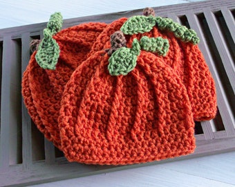 Crochet Baby Pumpkin Hat, Fall Baby Hat for First Thanksgiving, Halloween Costume, Photo Prop, or Shower Gift, READY to SHIP