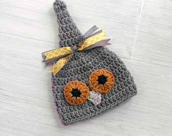 Baby Halloween Hat, Crochet Owl Hat, Woodland Baby Shower Gift, Fall Photo Prop,Autumn Elf Hat READY TO SHIP Warm Winter Hat