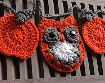 Pumpkin Owl Garland Fall Owl Decor, Crochet Mantel Garland, Crochet Halloween Pumpkin, Primitive Farmhouse Country Decor, Ready to Ship