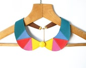 Leather Collar Necklace Colorful Necklace Yellow, Pink, Corall and Teal Blue Peter Pan Detachable Collar Neon Necklace