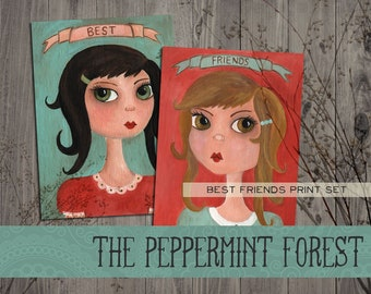 Best Friends Whimsical Folk Art Girls Print Set by The Peppermint Forest with FREE SHIPPING
