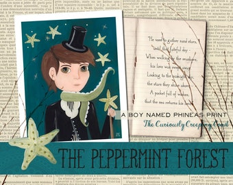 A Boy Named Phineas, The Curiously Creeping Coast Original Art Print from The Peppermint Forest with FREE SHIPPING