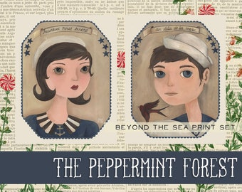 Beyond the Sea, Original Illustration Sailor Art Print Set from The Peppermint Forest with FREE SHIPPING