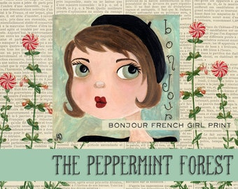 Bonjour French Girl with Beret Whimsical Illustration Art Print from The Peppermint Forest with FREE SHIPPING