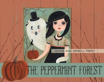 Olivia and Orwell,  Ghost and Girl Halloween Folk Art Print by The Peppermint Forest with FREE SHIPPING