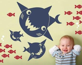 Happy Shark Family Wall Decals: Ocean Sea Life Underwater Nursery Wall Stickers Kids Under-the-Sea Shark Room Decor