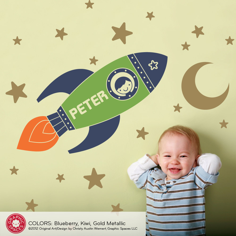 Rocket Boy Wall Decal with Name Outer Space Baby Boy Nursery