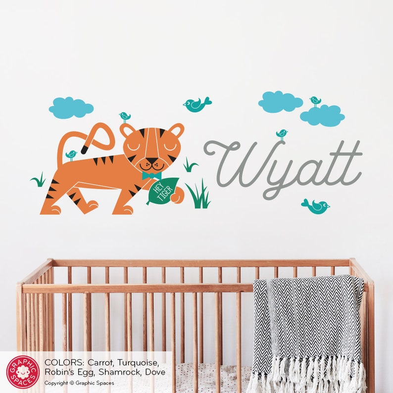 4ae3d3f4d5eb5 Tiger Nursery Wall Decal Personalized Name Baby Safari Jungle Animal Kids  Room Wall Decor