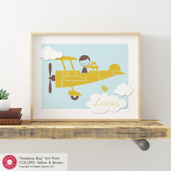 Airplane Boy Art Print: Personalized Name for Baby Boy Nursery Travel Theme  Kids Room 8x10