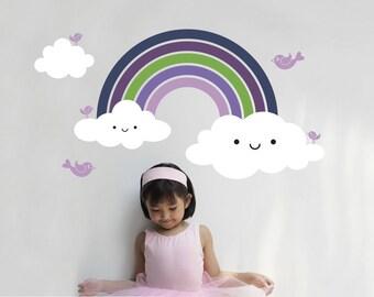 Rainbow Wall Decal Cute Baby Nursery Rainbow Room Theme Kids Wall Decor