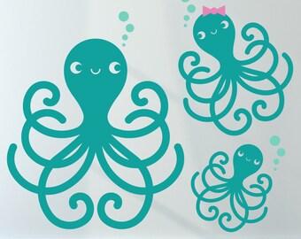 Octopus Family Wall Decals Ocean Baby Under-the-Sea Nursery Kawaii Sea Life Cute Underwater Kids Room Decor