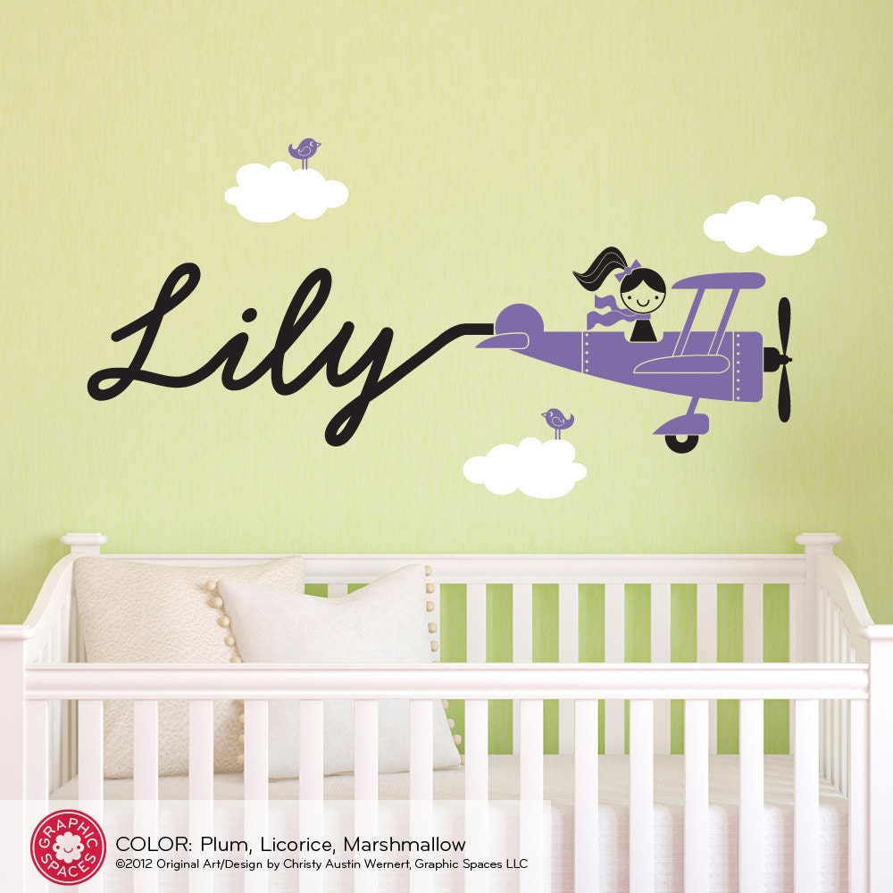 Airplane Girl Wall Decal Personalized Name Baby Girl Travel | Etsy