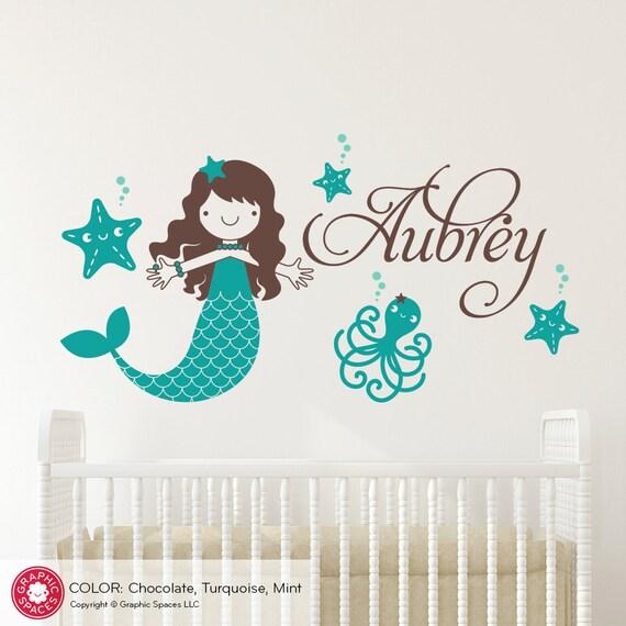mermaid name wall decal: ocean under the sea baby girl nursery   etsy