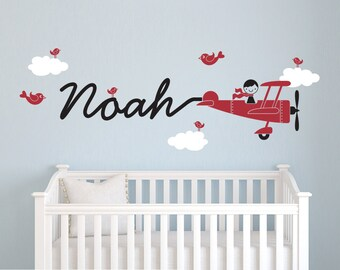 Airplane Name Wall Decal Boy Skywriter for Baby Nursery Kids Personalized Travel Theme Decor
