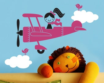 Airplane Girl Wall Decal Baby Nursery Travel Theme Cute Kids Playroom Plane Room Decorations