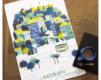 Lisbon Tea Towel / Castle Tea Towel / Portugal Tea Towel / Wanderlust Gift / Castle Print / Gift For Travellers / Travel Gift / Retro Travel