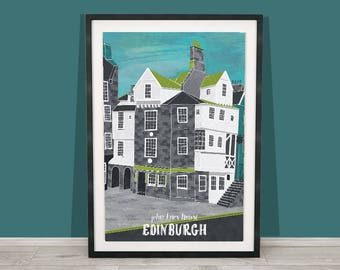 Edinburgh Art Print / John Knox House / Royal Mile / Scotland Print / Scotland Print / Travel Illustration / Wanderlust