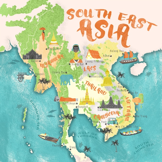 South East Asia Map Print / Thailand Vietnam Cambodia Laos Myanmar /  Illustrated Map / Travel Gift / Backpacker / Gift For Travelers
